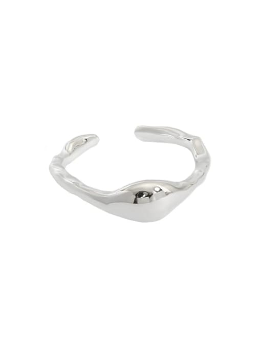 Silver Small [size 6 adjustable] 925 Sterling Silver Smooth Geometric Minimalist Band Ring
